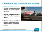 outdoor is the classic brand builder