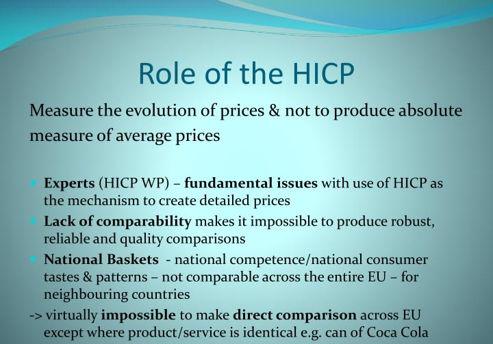 Role of the HICP