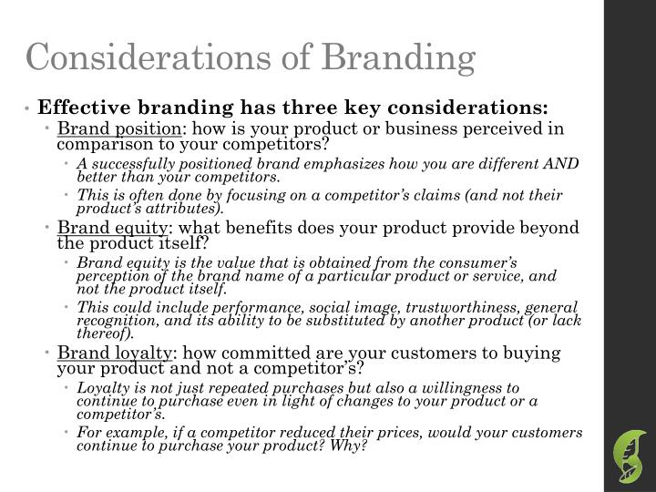 Considerations of Branding