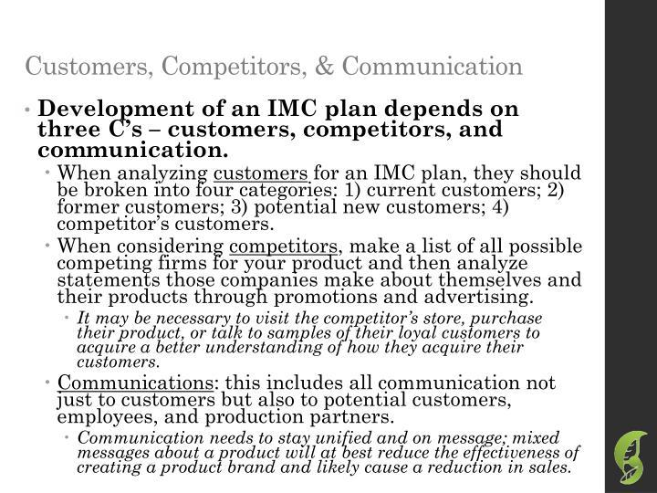Customers, Competitors, & Communication