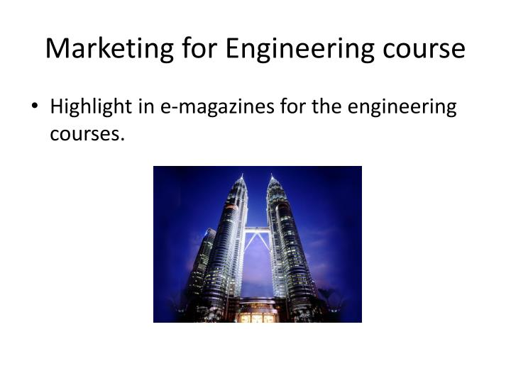 Marketing for Engineering course