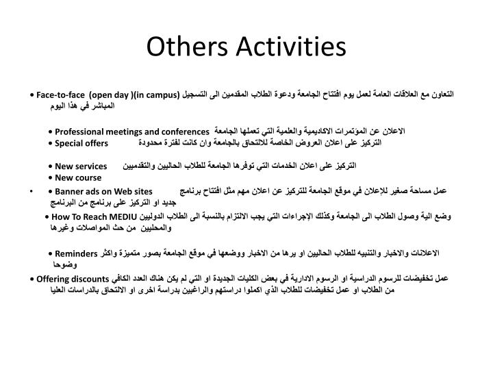 Others Activities