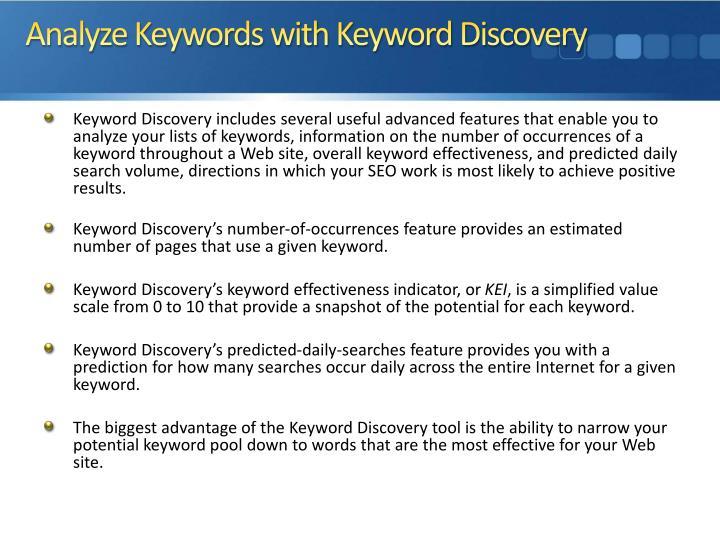 Analyze Keywords with Keyword Discovery