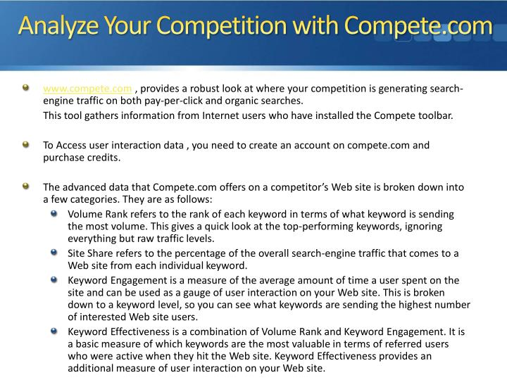 Analyze Your Competition with Compete.com