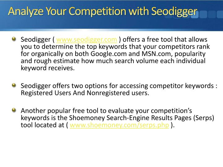 Analyze Your Competition with Seodigger