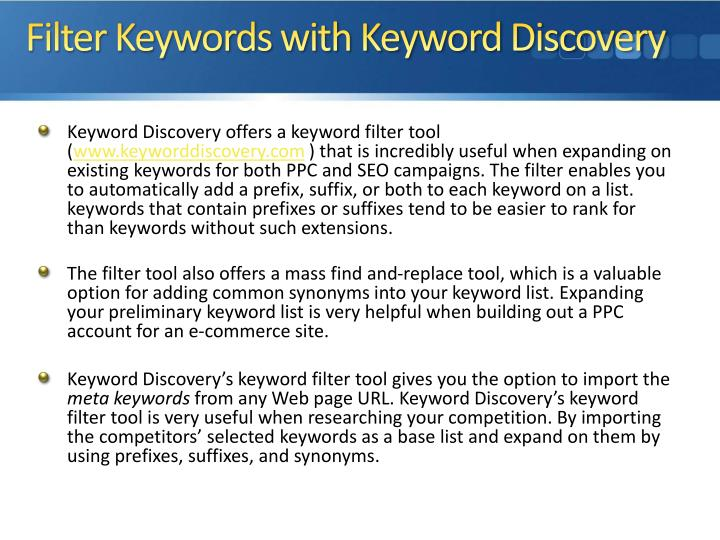 Filter Keywords with Keyword Discovery