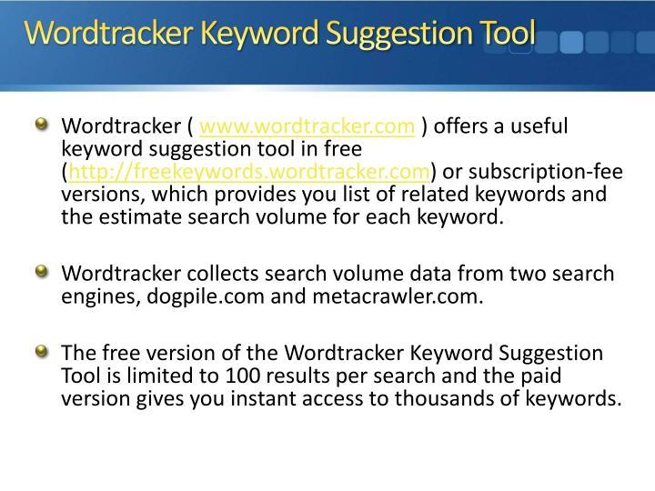 Wordtracker Keyword Suggestion Tool