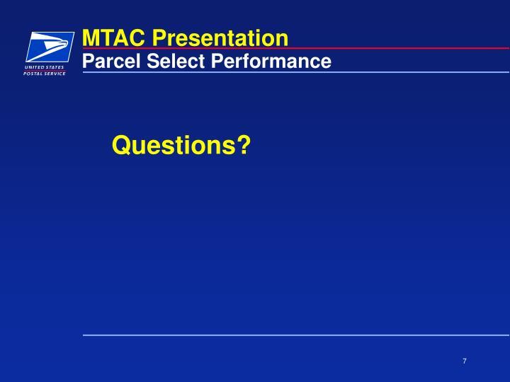 Parcel Select Performance