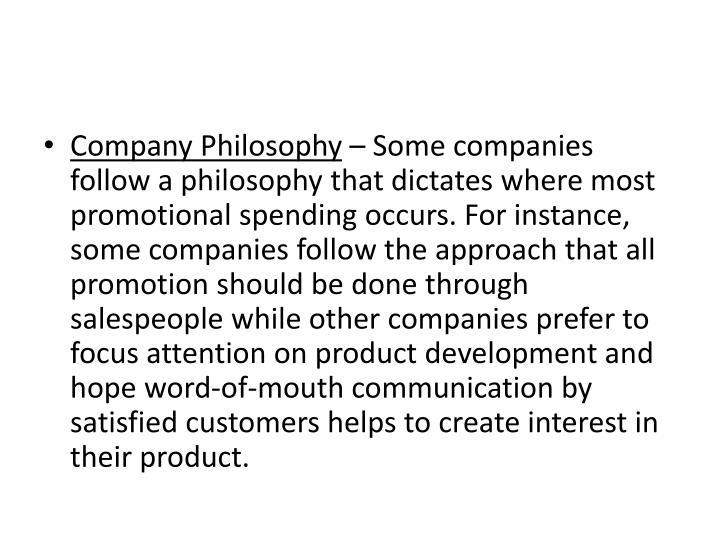 Company Philosophy