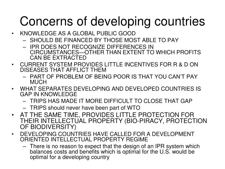 Concerns of developing countries