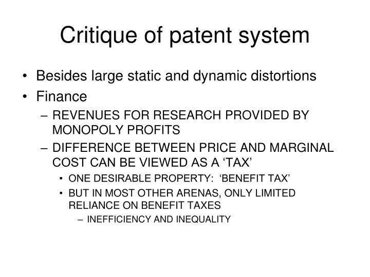 Critique of patent system