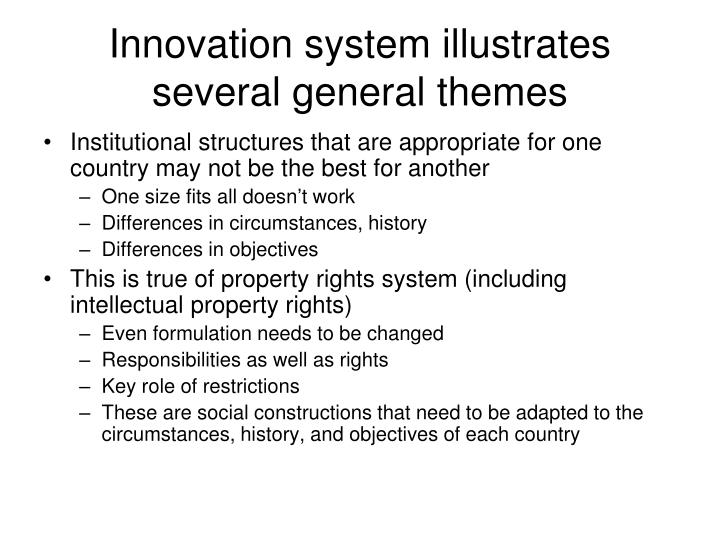 Innovation system illustrates several general themes