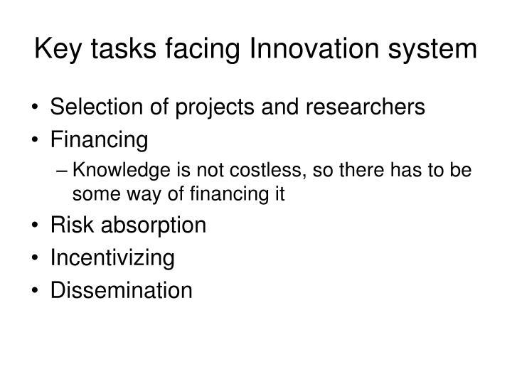 Key tasks facing Innovation system
