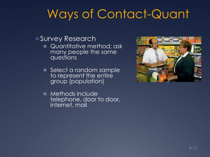 Ways of Contact-Quant