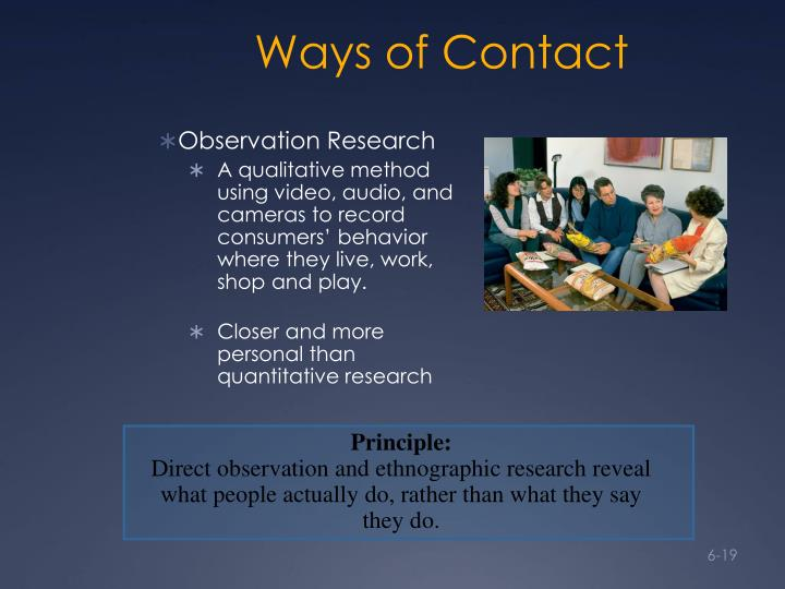 Ways of Contact