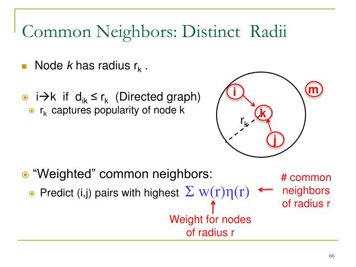 Common Neighbors: Distinct  Radii