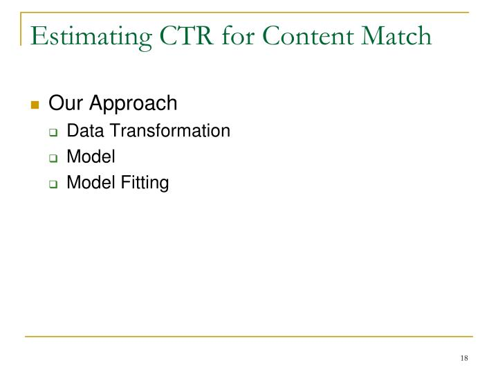 Estimating CTR for Content Match