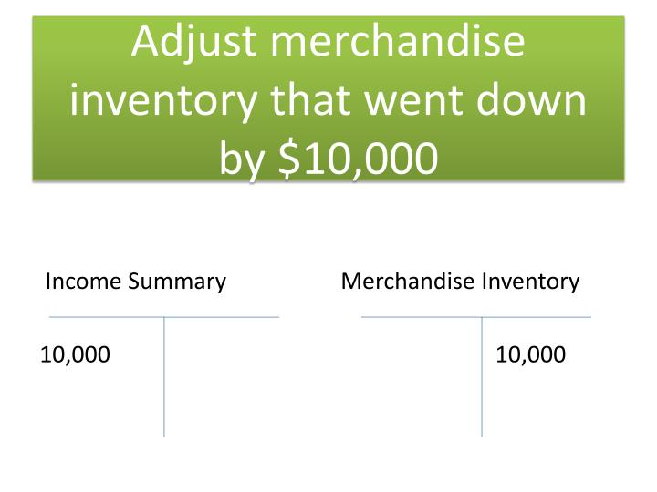 Adjust merchandise inventory that went down by $10,000