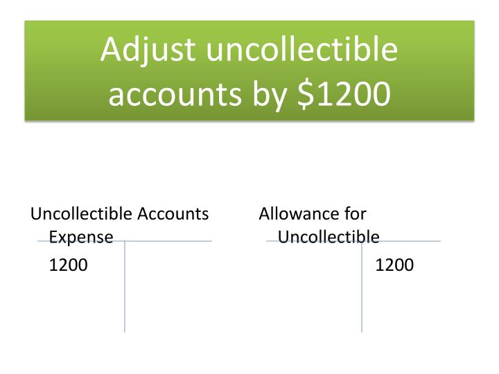 Adjust uncollectible accounts by $1200