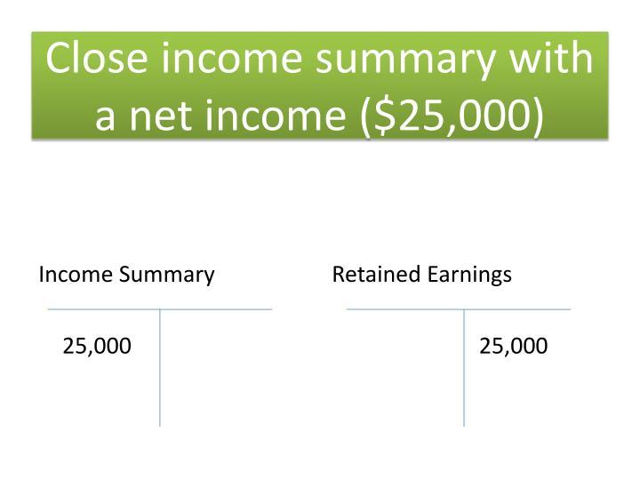 Close income summary with a net income ($25,000)
