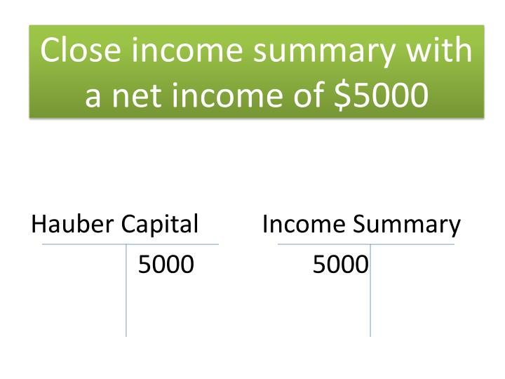 Close income summary with a net income of $5000