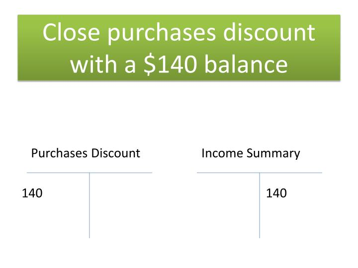 Close purchases discount with a $140 balance