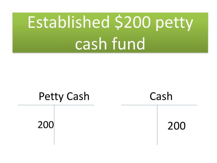 Established $200 petty cash fund