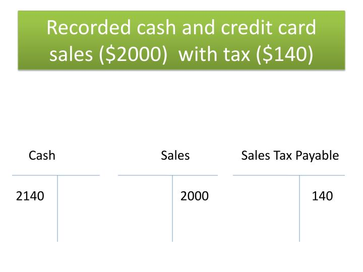 Recorded cash and credit card sales ($2000)  with tax ($140)