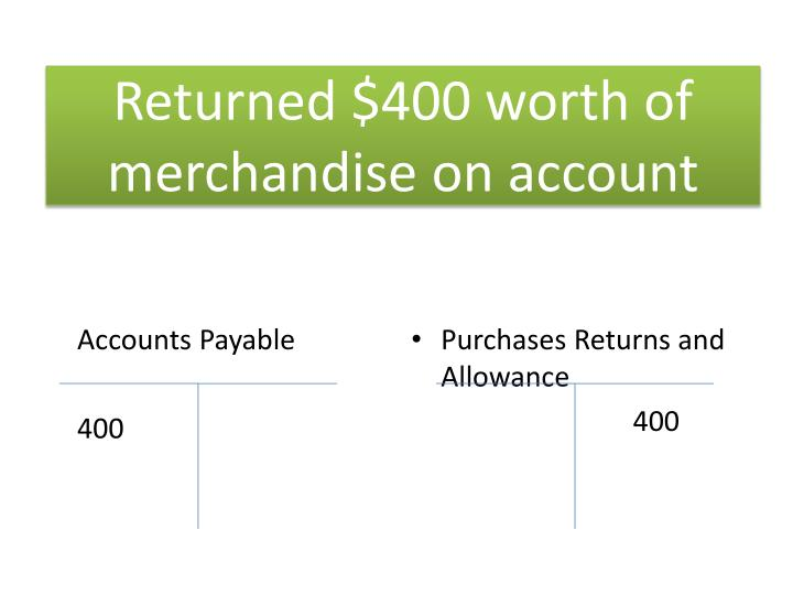 Returned $400 worth of merchandise on account