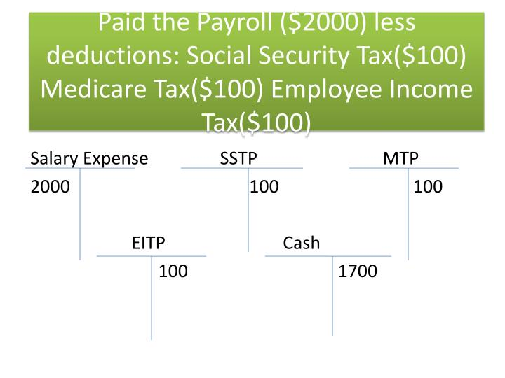 Paid the Payroll ($2000) less deductions: Social Security Tax($100) Medicare Tax($100) Employee Income Tax($100)