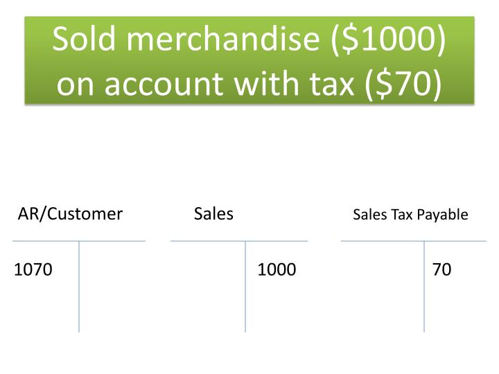 Sold merchandise ($1000) on account with tax ($70)