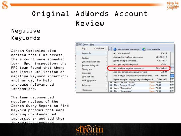 Original AdWords Account Review
