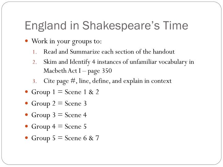 England in Shakespeare's Time