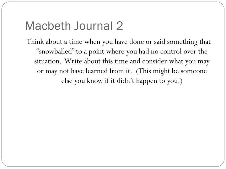 Macbeth Journal 2
