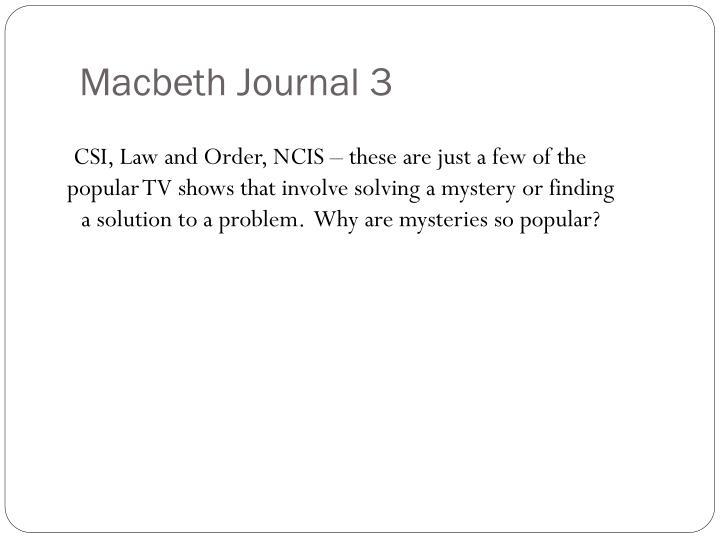 Macbeth Journal 3