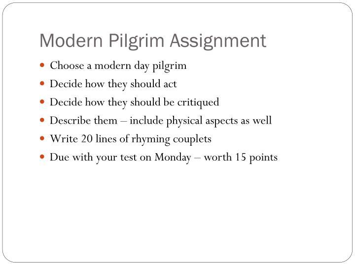 Modern Pilgrim Assignment
