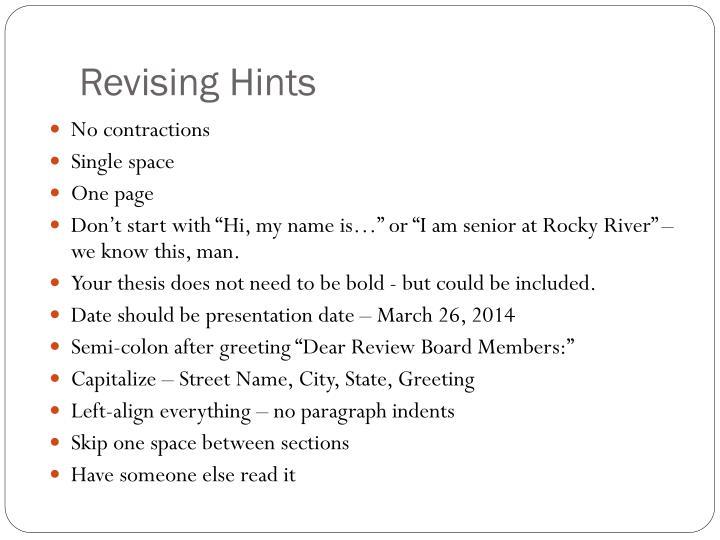 Revising Hints