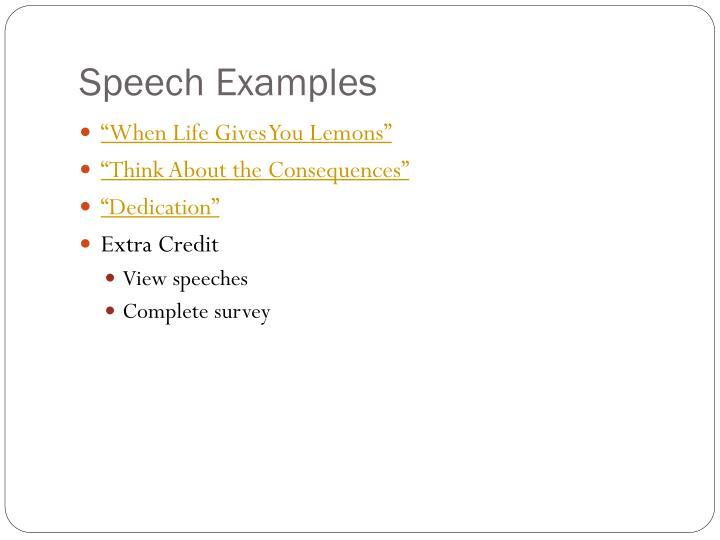 Speech Examples