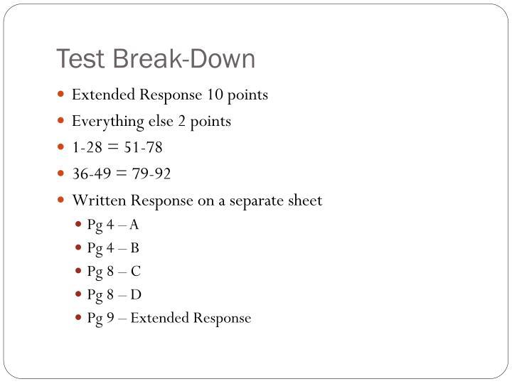 Test Break-Down