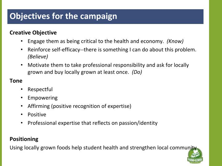 Objectives for the campaign