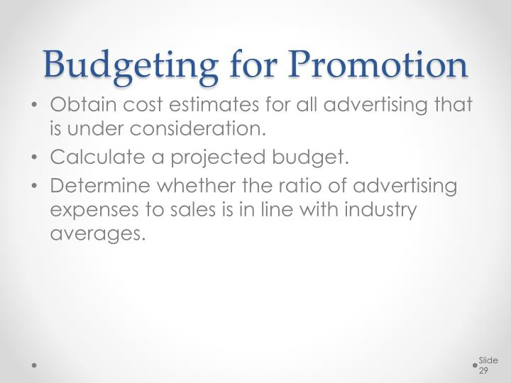 Budgeting for Promotion