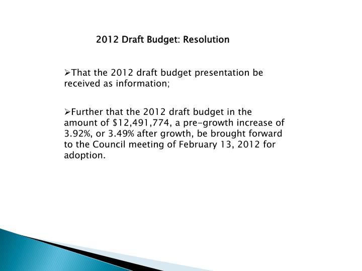 2012 Draft Budget: Resolution