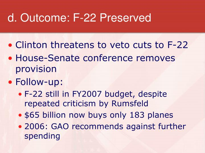 d. Outcome: F-22 Preserved