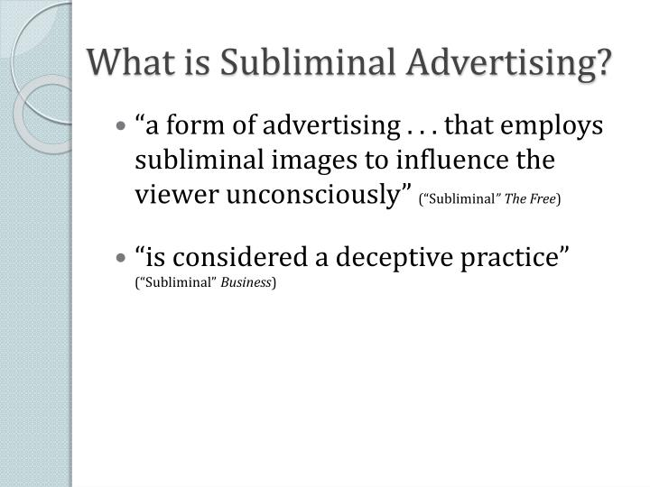 What is Subliminal Advertising?