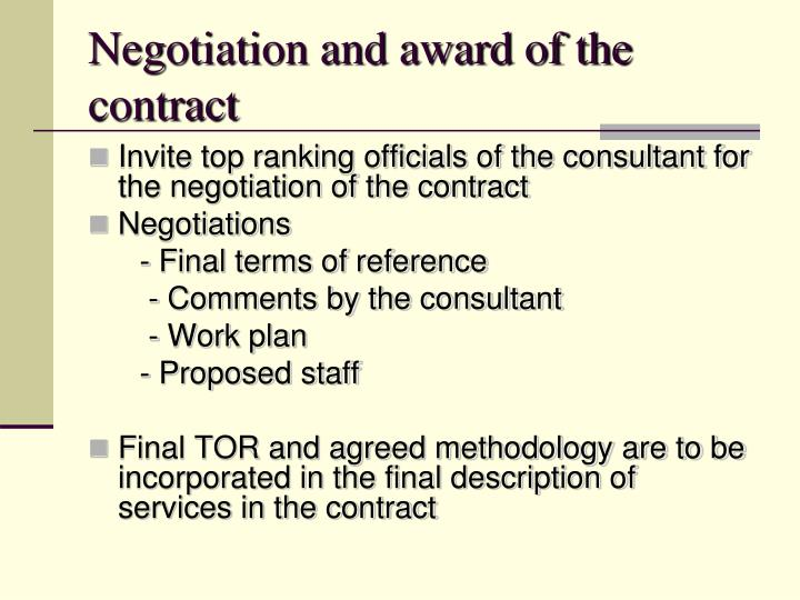 Negotiation and award of the contract