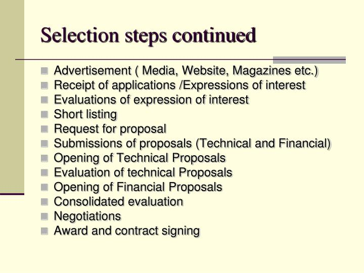 Selection steps continued