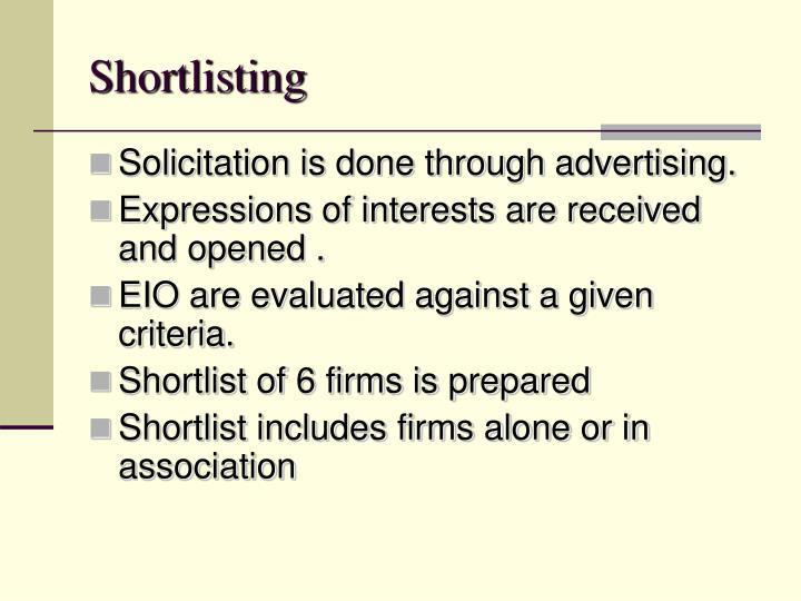Shortlisting