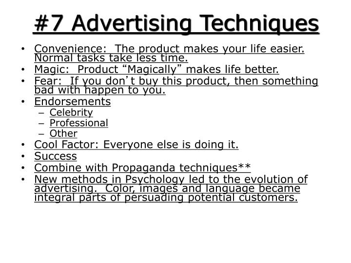 7 advertising techniques