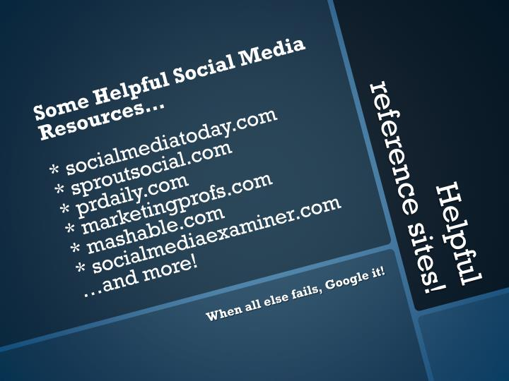 Some Helpful Social Media Resources…