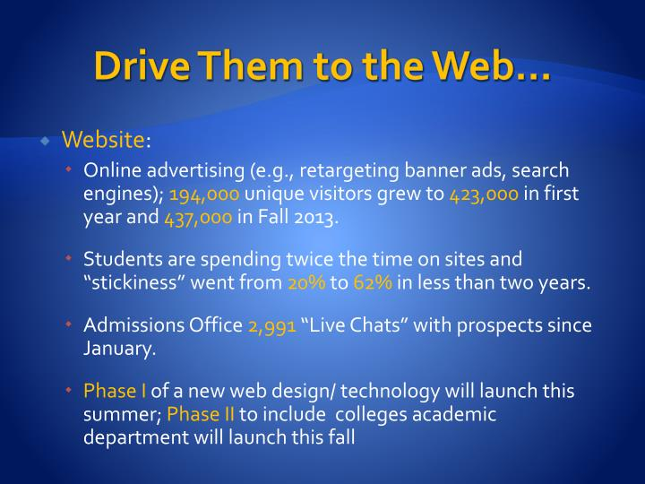 Drive Them to the Web…